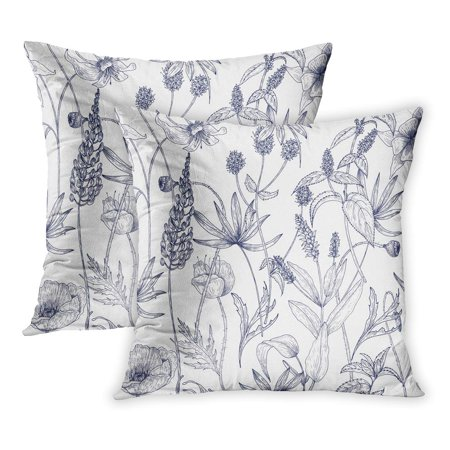 BOSDECO Monochrome Floral Gorgeous Vintage Wild Flowers Herbs and Herbaceous Plants on Botanical in Antique PillowCase Pillow Cover 16x16 inch Set of 2 - image 1 de 1