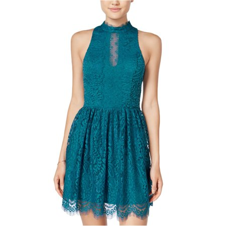 Trixxi Womens Eyelash A-line Dress teal L - Juniors