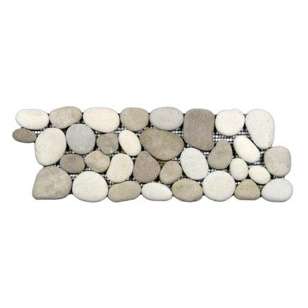 White Pebble Tile - Java Tan and White Pebble Tile Border