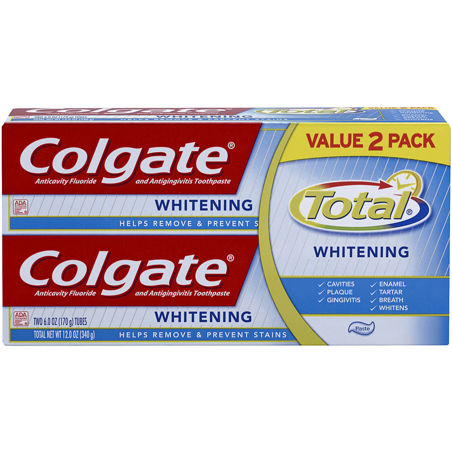Colgate Total Anticavity Fluoride & Antigingivitis Whitening Toothpaste, 6 oz, 2 pack