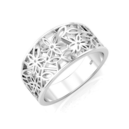 925 Sterling Silver Filigree Ring - Sz 7 Sterling Silver 925 Victorian leaf Filigree Ring