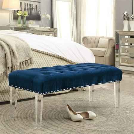 Wyatt Navy Blue Velvet Upholstered Bench - Acrylic Legs - Nailhead ()