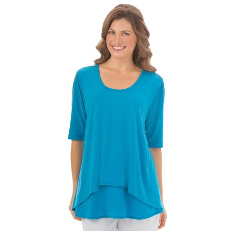- Women's Double Tier Short Sleeve, Elbow Length, Cotton Knit Top, Large, Turquoise  - Made in the USA