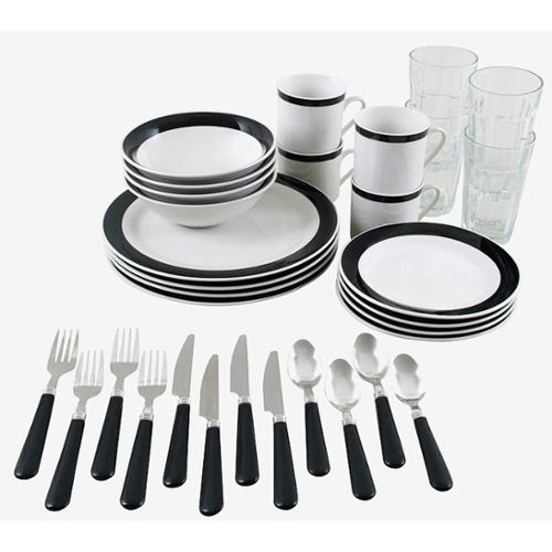 Gibson Essex 32pc Combo Dinnerware Set-Black