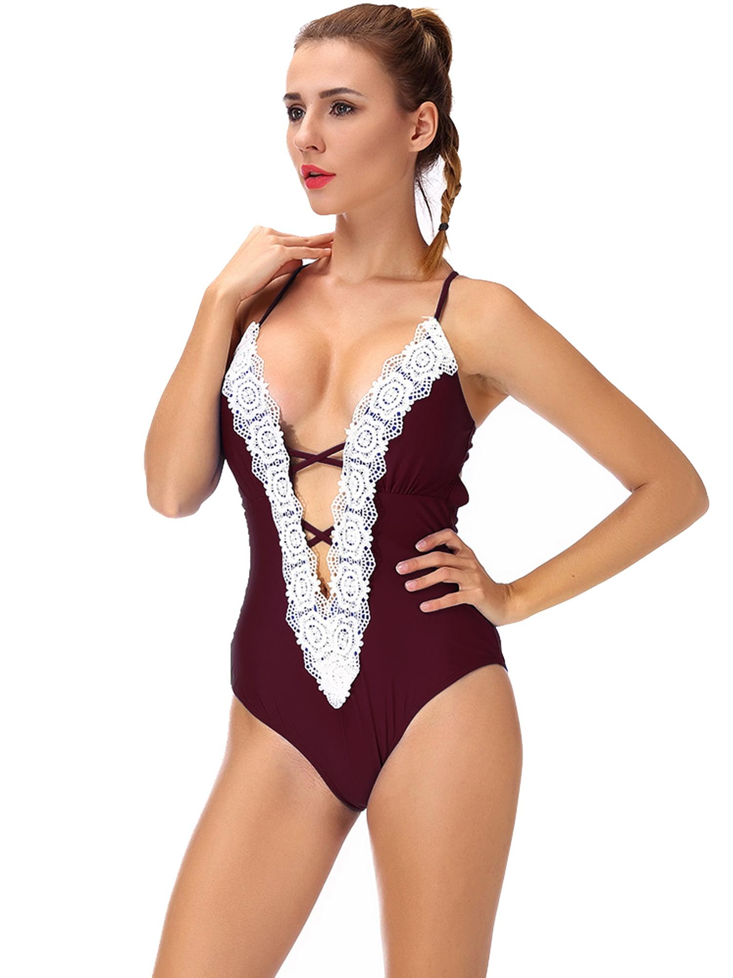 dd26ee9b14212 SAYFUT - Women's Deep V Neck One Piece Swimsuit Floral Lace Slimming Bikini  Bathing Suits Swimwear - Walmart.com