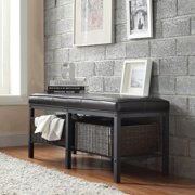 iNSPIRE Q Myra II Black Brown Faux Leatr Upholstered Modern Rustic Bench by  Classic