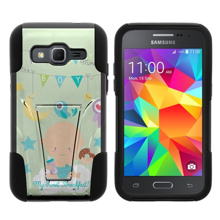 Samsung Galaxy Core Prime G360 STRIKE IMPACT Dual Layer Shock Absorbing Case with Built-In Kickstand - My Sweat Breakfast for $<!---->