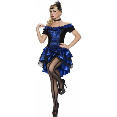 Womens Adult Sexy Sapphire Blue Dance Hall Queen Plus Sized Costume