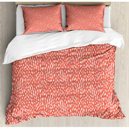 Coral and White Duvet Cover Set Queen Size, Hand Drawn Strokes Pattern Pastel Abstract Shapes Summer Inspired, Decorative 3 Piece Bedding Set with 2 Pillow Shams, Coral and White, by Ambesonne ()