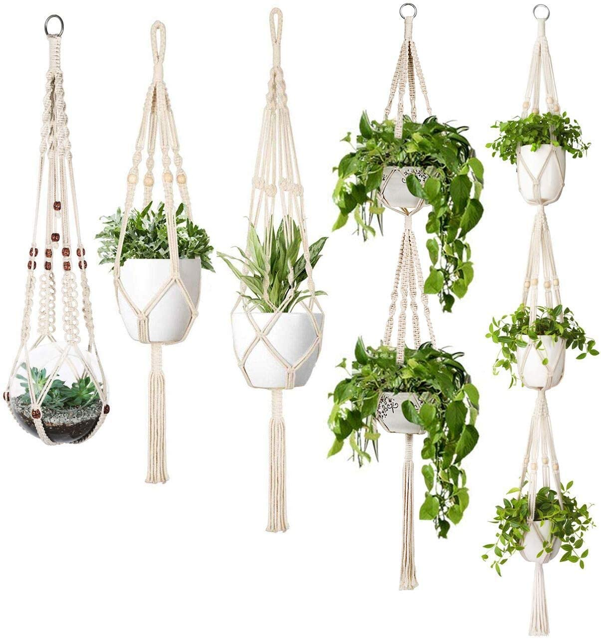 Golden Home Macrame Plant Hanger Set Of 5 Indoor Wall Hanging Planter Basket Flower Pot Holder Boho Home Decor Gift Box Walmart Com Walmart Com