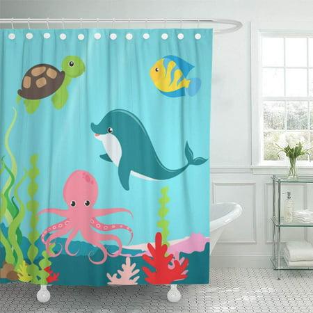 Yusdecor Kids Aquatic Ocean Life, Fish Bathroom Set