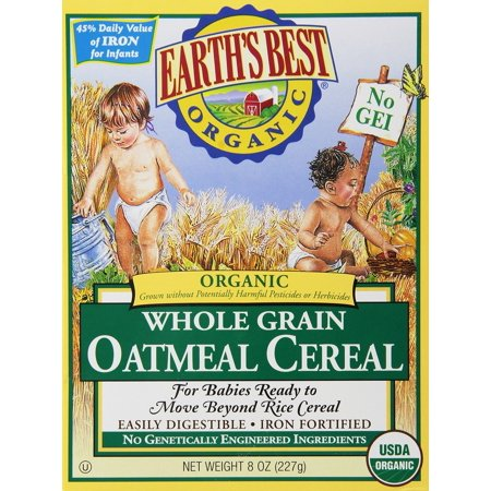Earth's Best Certified Organic Whole Grain Oatmeal Cereal -- 8 oz Each / Pack of 2 (Earth Best Organic Cereal)