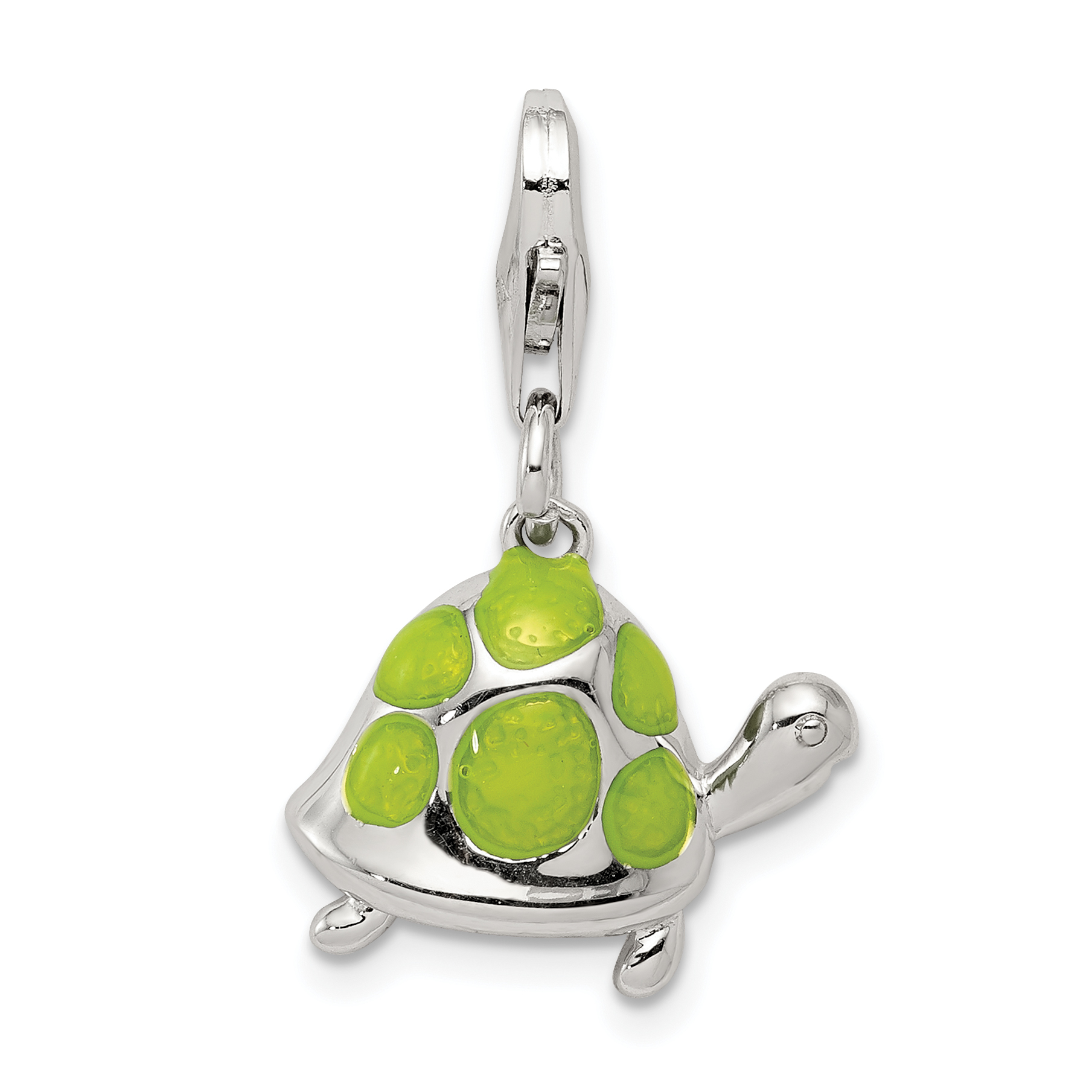 925 Sterling Silver Green Enameled Turtle Pendant Charm Necklace Sea Life Animal Snake Reptile Fine Jewelry Gifts For Women For Her - image 2 de 2