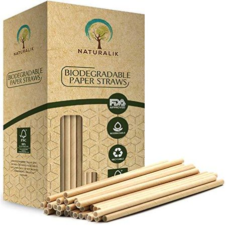 Paper Drinking Straws (Naturalik 300-Pack Biodegradable Paper Straws Dye-Free- Brown Kraft Premium Eco-Friendly Paper Straws Bulk- Drinking Straws for Juices, Smoothies, Restaurants and Party Decorations, 7.7