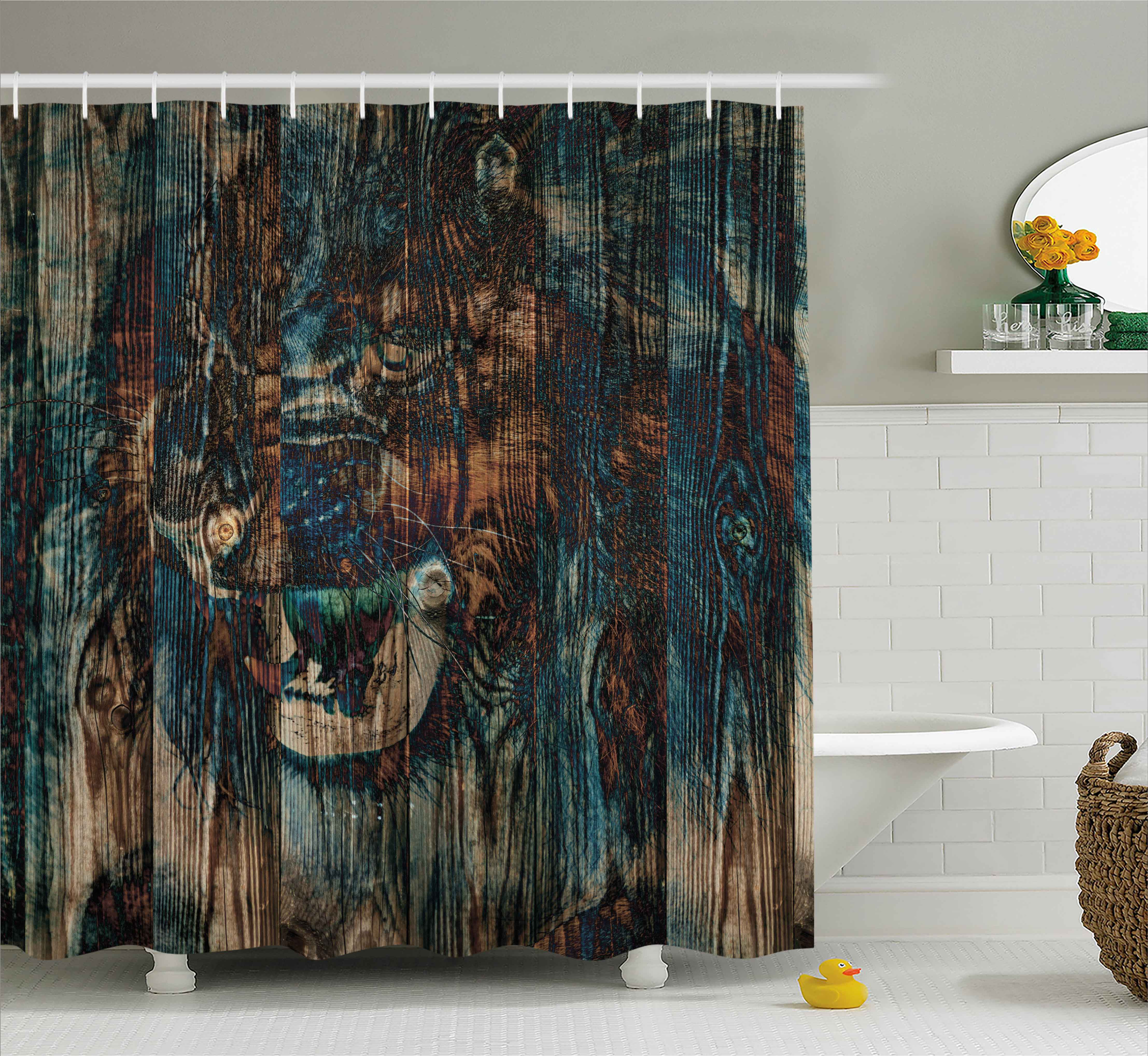 Exceptionnel Safari Decor Shower Curtain, Wild African Animal Big Cat Lion Carved On  Grunge Wooden Board