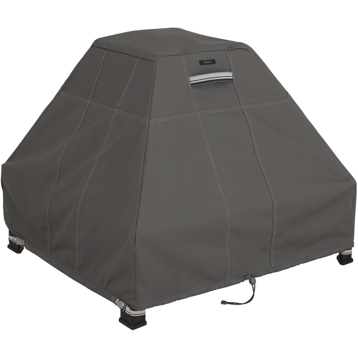 Classic Accessories Ravenna Fire Pit Stand Up Patio Storage Cover, Dark Taupe