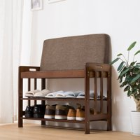 Ollieroo Natural Bamboo Shoe Rack Entryway Shoe Storage Household Shelf Shoe Bench with Cushion