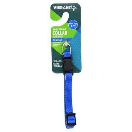 Vibrant Life Adjustable Blue Dog Collar, X-Small, 6-9 -