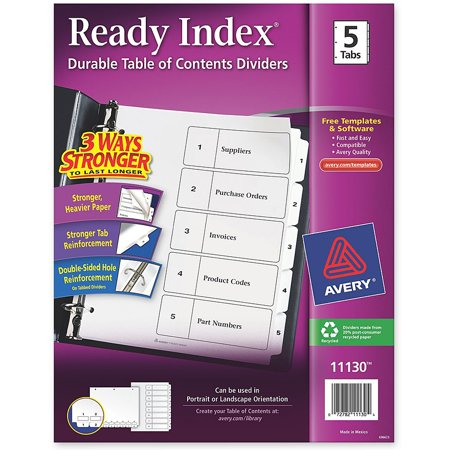 Avery Ready Index Customizable Table of Contents Black & White Dividers, 5-Tab, - Ready Index Table