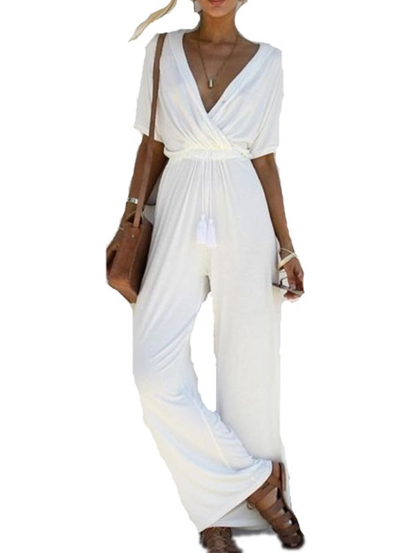 DYMADE Women's V Neck Casual Loose Long Jumpsuits Wide Leg Romper Pants with Belt
