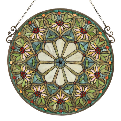 CHLOE Lighting SUNNY Tiffany-glass Floral Window Panel 23.5""