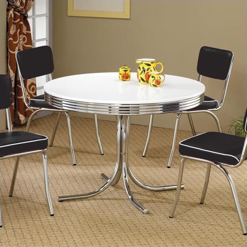 Coaster Cleveland Round Chrome Plated Dining Table with White Top