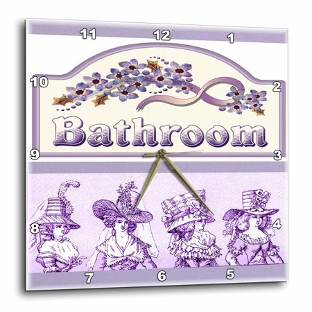 3Drose Victorian Ladies On Violet Bath Sign  Wall Clock  13 By 13 Inch