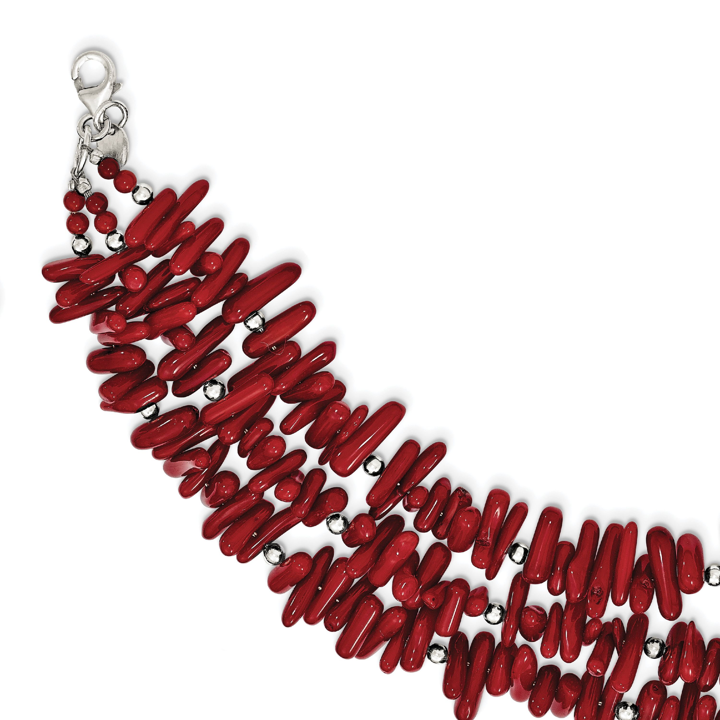 Sterling Silver Red Coral 3-Strand w 1in ext Bracelet QH5304 by Core Silver