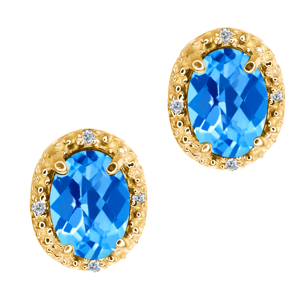1.95 Ct Checkerboard Swiss Blue Topaz and Diamond 14k Yellow Gold Earrings