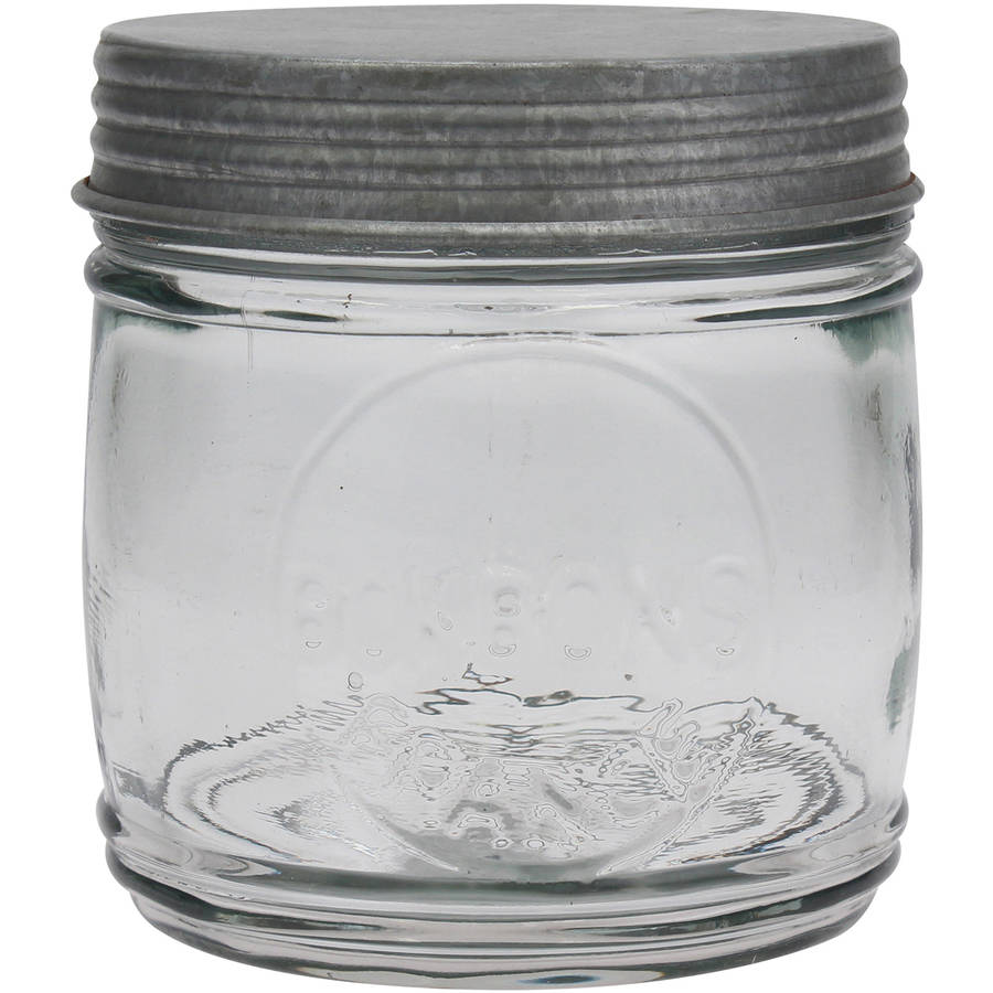 Clear Glass Embossed Bonbon Jar with Antique Galvanized Lid