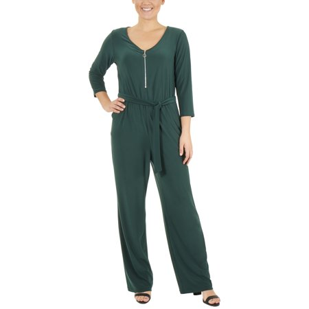 Women's Petite 3/4 Sleeve Zipper Front Jumpsuit