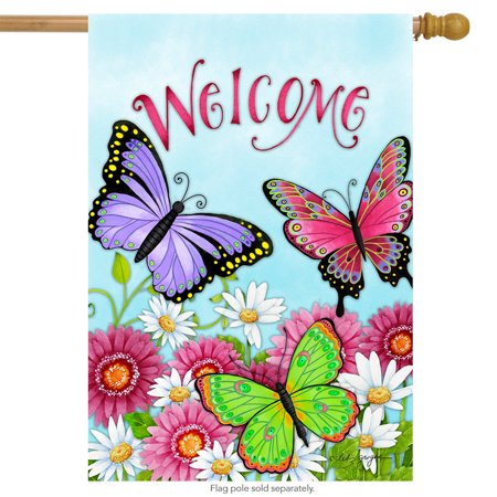 welcome butterfly house flag spring daisy wildflowers 28