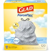Glad Tall Kitchen Trash Bags, 13 Gallon, 120 Bags (ForceFlex, Fresh Clean)