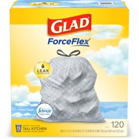 Glad Tall Kitchen Trash Bags, 13 Gallon, 120 Bags (ForceFlex, Fresh Clean)