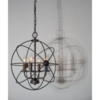 "Kira Home Orbits II 15"" 4-Light Modern Rustic Armillary Sphere/Orb Chandelier, Oil-Rubbed Bronze Finish"