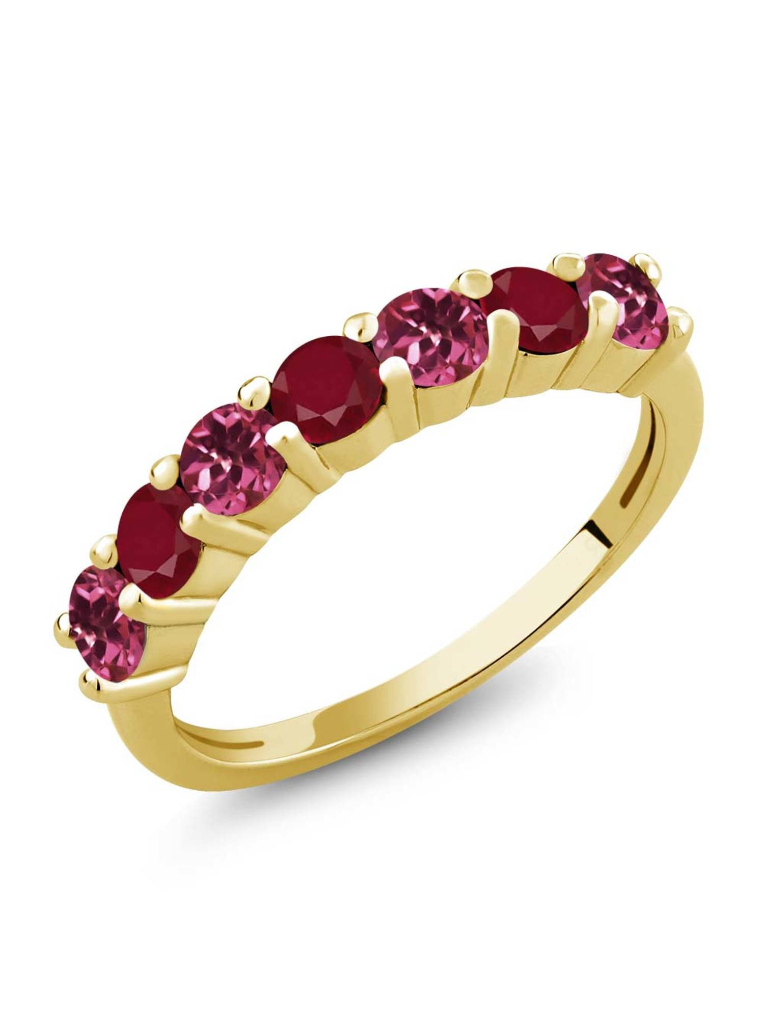 1.26 Ct Round Pink Tourmaline Red Ruby 18K Yellow Gold Plated Silver Ring by