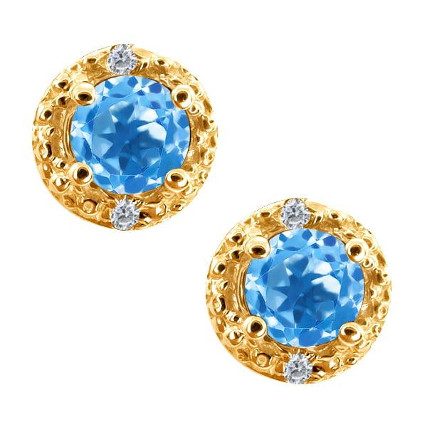 0.68 Ct Round Swiss Blue Topaz and White Diamond 14k Yellow Gold Earrings