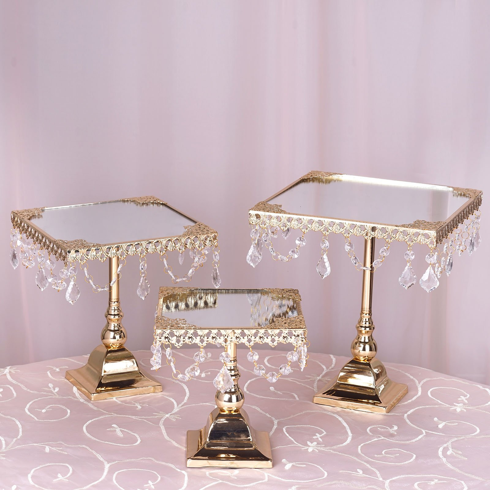Efavormart Set of 3 Square Mirror Top Cup Cake Riser Centerpiece Stand Wedding Birthday Party Dessert Rise Cake Display Stand