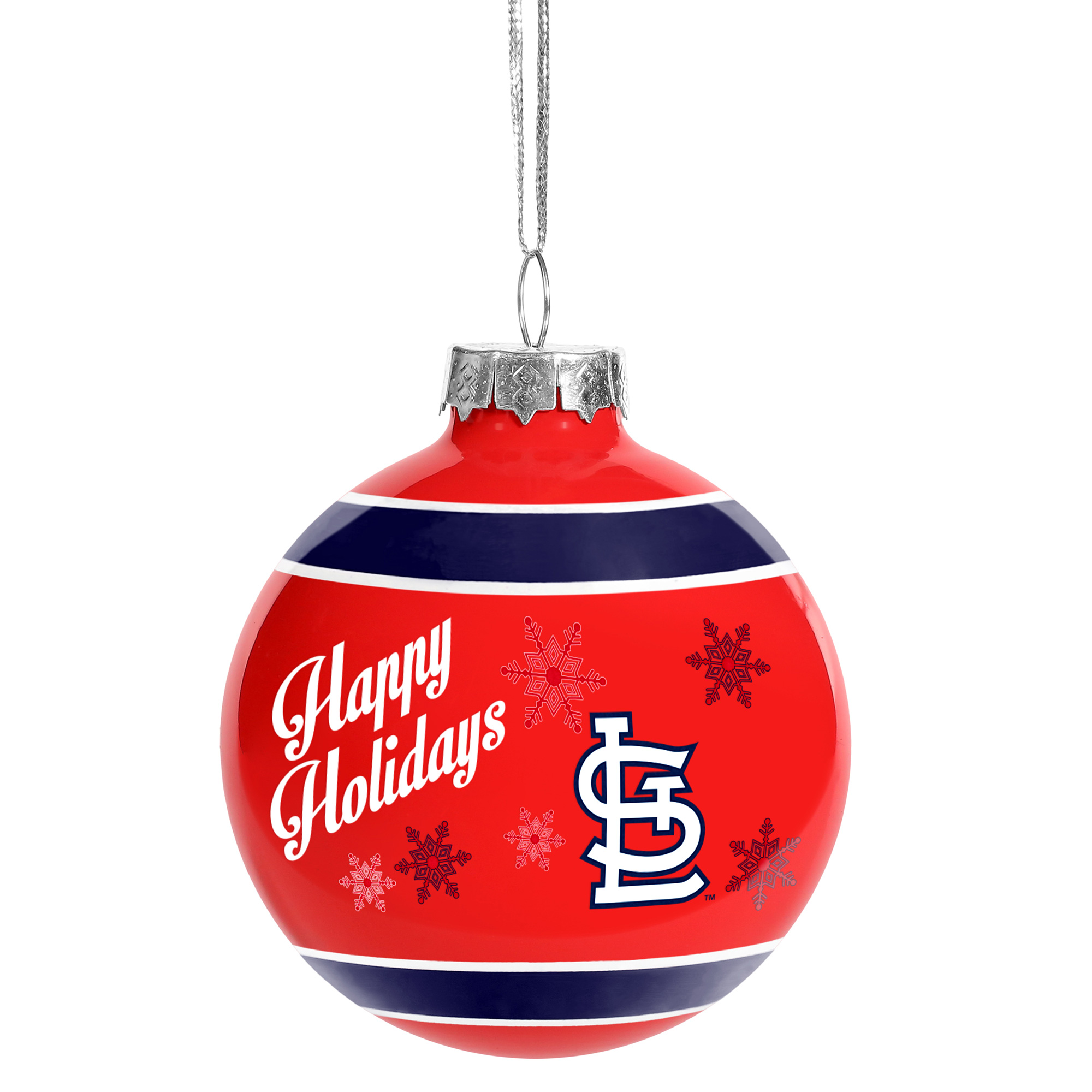 St. Louis Cardinals Happy Holidays Glass Ball Ornament - No Size