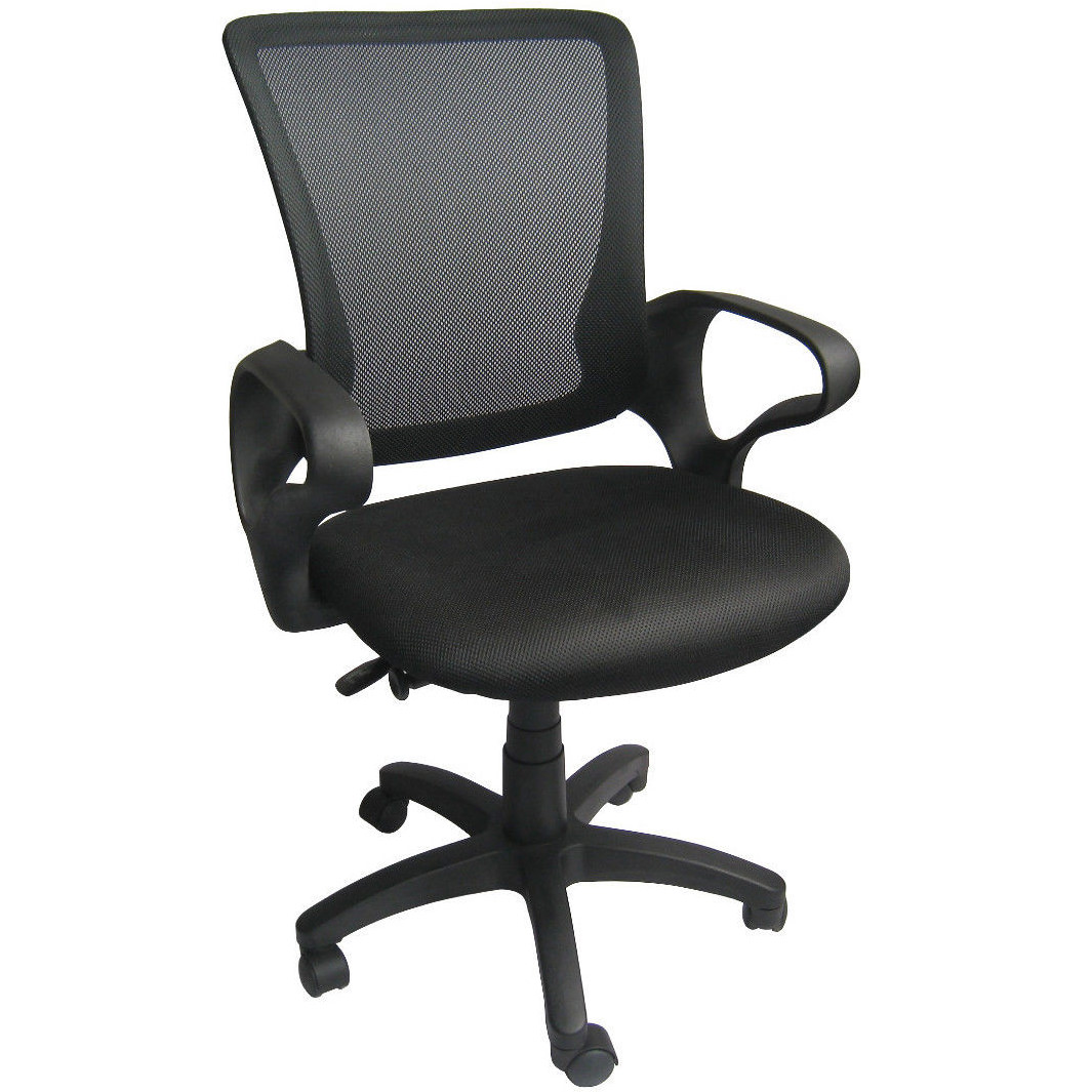 Beau 2xhome   Black   Mesh Office Chair Mid Back Ergonomic Modern Task Swivel  Tilt Arms Conference Room Chairs Manager Boss Executive Chairs