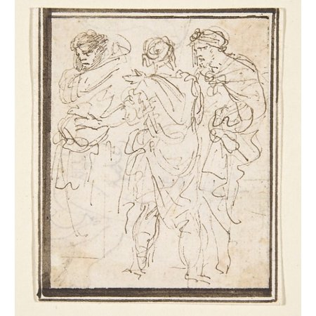 """Three Standing Figures in Antique Costume Poster Print by Stefano della Bella (Italian Florence 1610  """"1664 Florence) (18 x 24) for $<!---->"""