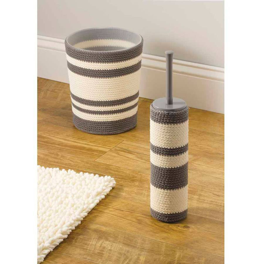 InterDesign Ellis Knitted Decorative Trash and  Waste Can, Gray/Ivory