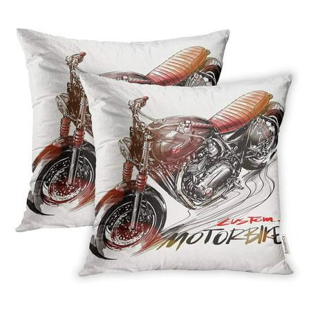ECCOT Cafe Custom Motorcycle Racer Bike Biker Brush Classic Cool Detail Pillowcase Pillow Cover 18x18 inch Set of