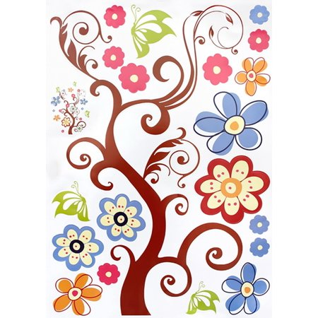 Flower Wall Appliques (Flower Tree - Large Wall Decals Stickers Appliques Home Decor)