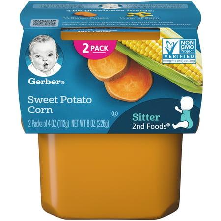 Gerber 2nd Foods Sweet Potato Corn Baby Food, 4 oz. Tubs, 2 Count (Pack of 8)