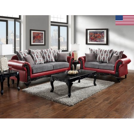 appealing traditional fabric sofas living room furniture | Formal Traditional 2pc Sofa Set Sofa And Love-seat Red And ...