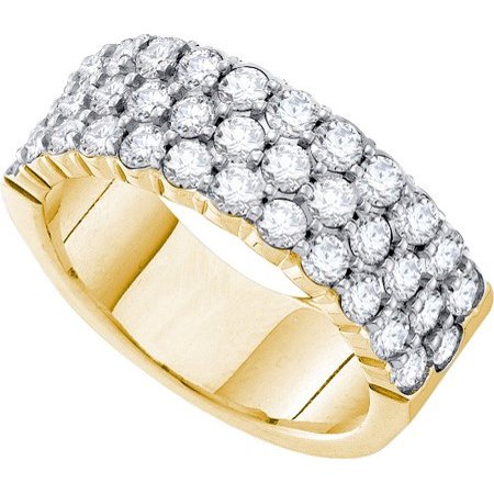 14K Yellow Gold 2.00ct Gorgeous Shared Prong Diamond 3 Row Machine Set Band Ring