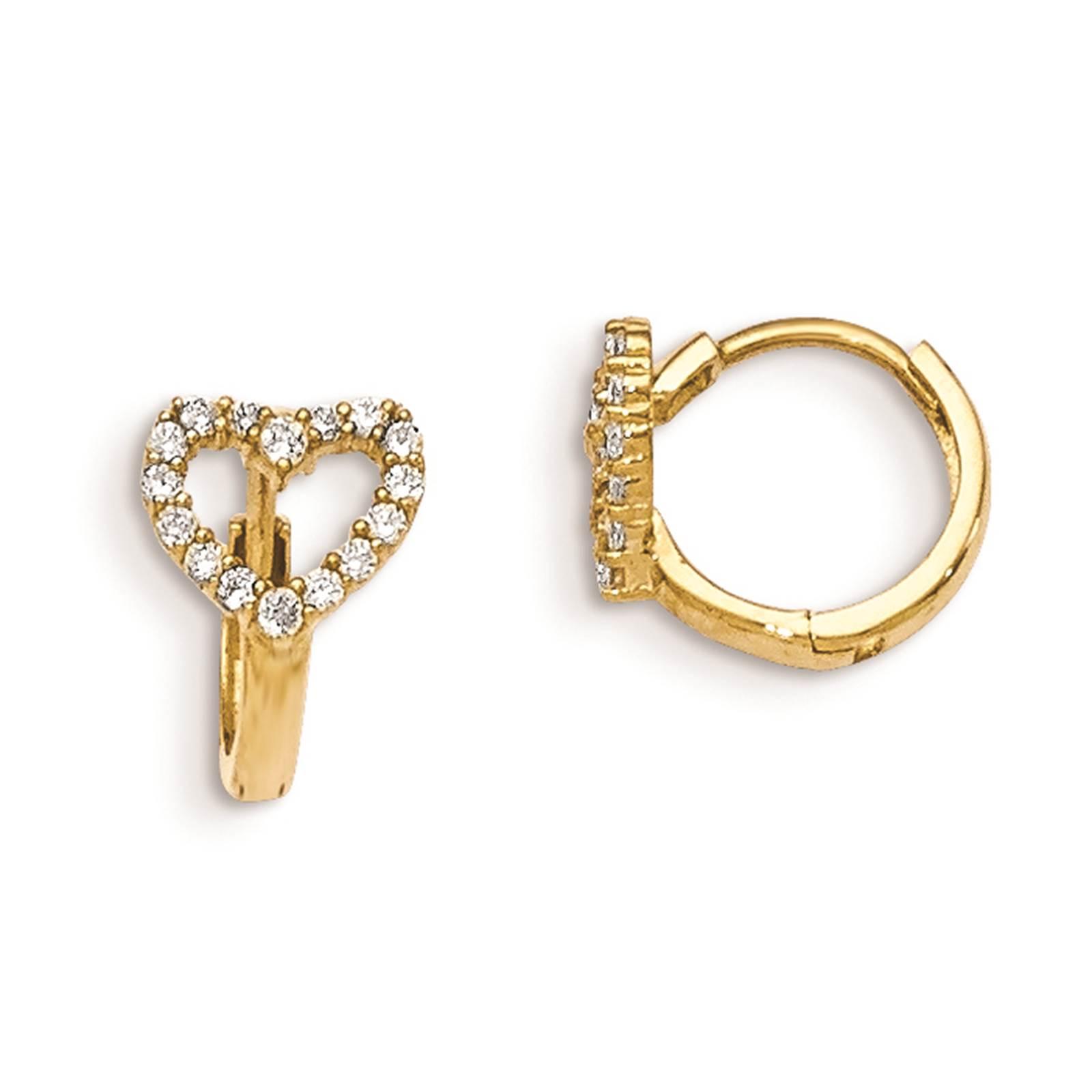 Madi K Kids 14k Yellow Gold Children's Hinged Hoop Heart Earrings
