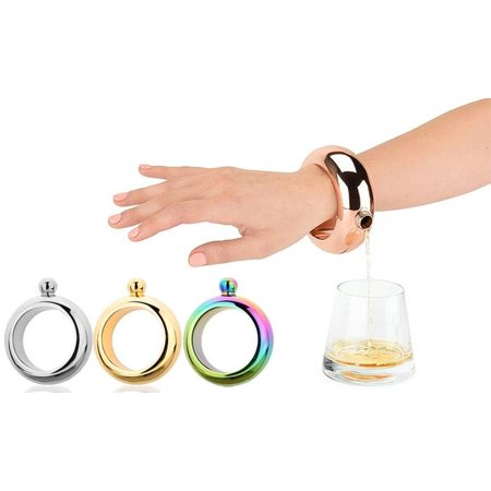 3.5 oz Alcohol Flask Bracelet Silver Colored Metal Fashion Jewlery Wrist Bracelet Discreet Booze Smuggle Bracelet Bangle (Silver Metal Bracelet)