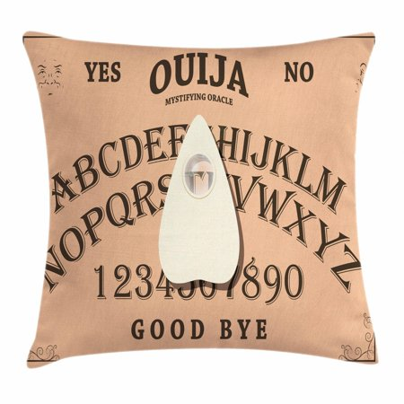 Ouija Board Throw Pillow Cushion Cover, Playing Ouija with Magnifying Glass on Scribbled Letters Background, Decorative Square Accent Pillow Case, 18 X 18 Inches, Peach Ivory and Brown, by Ambesonne
